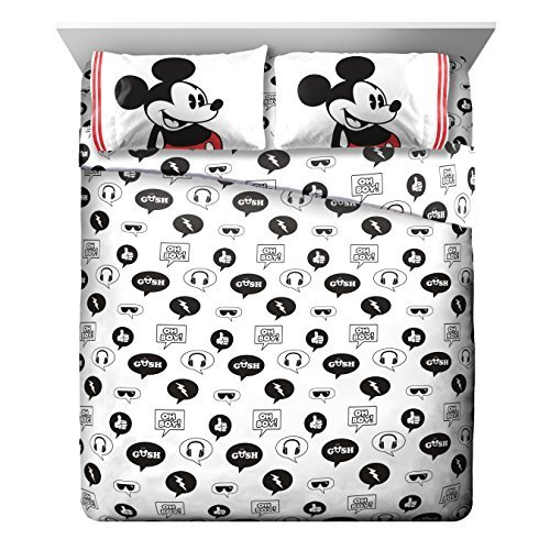 Four Seasons Quilt Shop - Disney Mickey Mouse Jersey White 4 Piece Full Sheet Set
