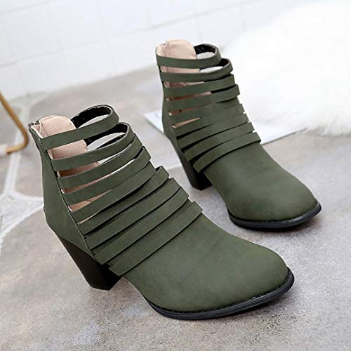 Green Toe Zipper Out Side Green Women's Autumn Chunky Cut Ankle Booties Round Strappy Creazrise 7 qSRx6w
