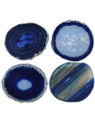 "Natural Sliced Dyed Agate Coaster with Rubber Bumper Set of 4 (Q.1 Blue, 3-3.5""), By JIC Gem"
