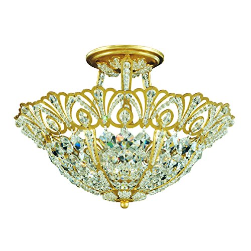 Schonbek 9841-22 Swarovski Lighting Tiara Semi Flush Mount Lighting Fixture, Heirloom Gold