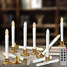 Flameless Taper Candles Led   Christmas Timer Candles Flickering AAA Battery Operated Remote   Electric Window Ivory Candles with Removable Holders Gift Party Wedding Decoration 10pcs Gold Base