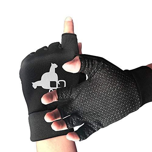 Crazy Siamese Kitten Cat Half Finger Fingerless Gloves for Women Men Cycling Training Gaming Gloves