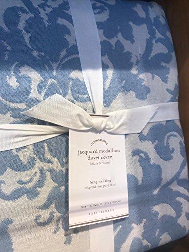 (New 1st Quality POTTERY BARN Jacquard Linen Medallion KING Duvet &2 Standard shams)
