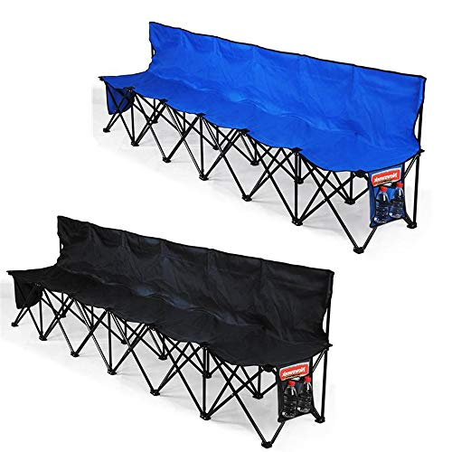 Yaheetech 6 Seats Foldable Sideline Bench with Back for Sports Team Camping Folding Bench Chairs Blue/Black from Yaheetech