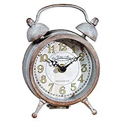 Small Patina Aged Double Bell on Feet 6.5 x 4.5 Inch Metal Table Top Analogue Clock