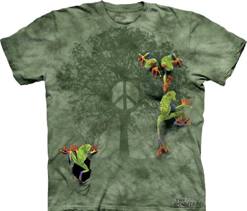 (Tie Dyed Shop Peace Sign Tie Dye T Shirt- Peace Tree Frog -Shortsleeve-3X-Multicolored)