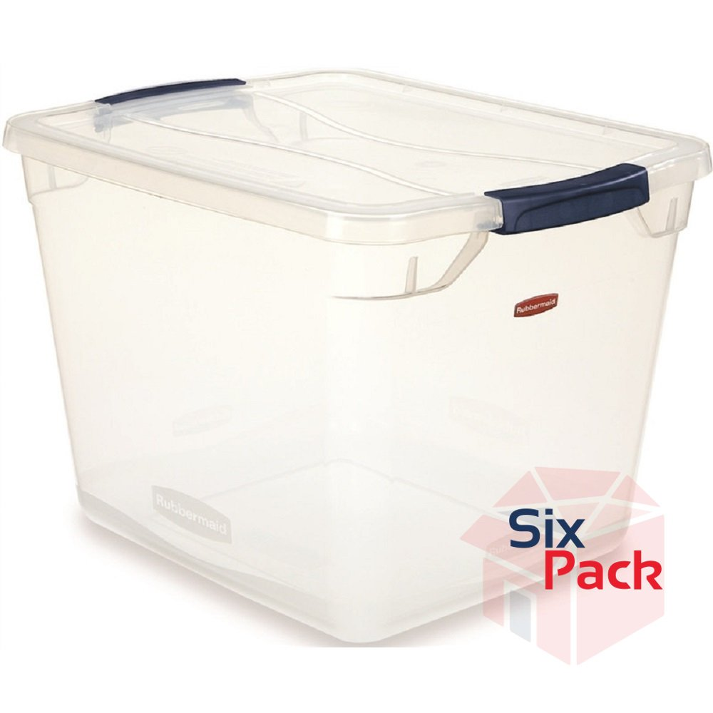 Rubbermaid Clever Store Latching Storage Tote Container, Clear, 30-Quart