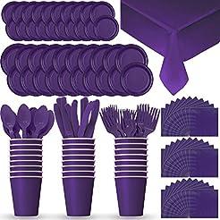 Disposable Paper Dinnerware for 24 - Purple - 2 Size plates Cups Napkins   sc 1 st  Amazon.com & Amazon.com: Purple - Plates / Dining u0026 Entertaining: Home u0026 Kitchen