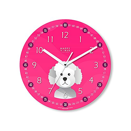 HappyVirus 11.22'' Educational Wall Clock, Children's Time Telling Teacher, Silent Non Ticking Home Decoration (Poodle Dog) #2118 by HappyVirus