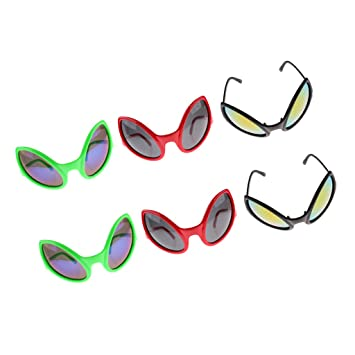 c0c5d63fd3 Image Unavailable. Image not available for. Color  Prettyia 6 Pieces  Assorted Novelty Fun Alien Sunglasses Party Eye Glasses ...