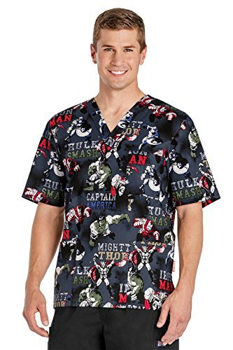 Tooniforms by Cherokee Men's V-Neck Avengers Print Scrub Top X-Small (Cherokee Two Pocket Tunic)