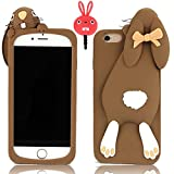 IPhone 6 Plus /6S Plus Case,Vandot Exclusive 3D Fashion Lovely Bow Ears Cartoon Animal Buck Teeth Bunny Soft Rubber Silicone Back Protective Cover Anti-scratch Perfect Fit Pattern For Apple iPhone 6 Plus /6S Plus 5.5 inch+Anti Dust Plug-Brown