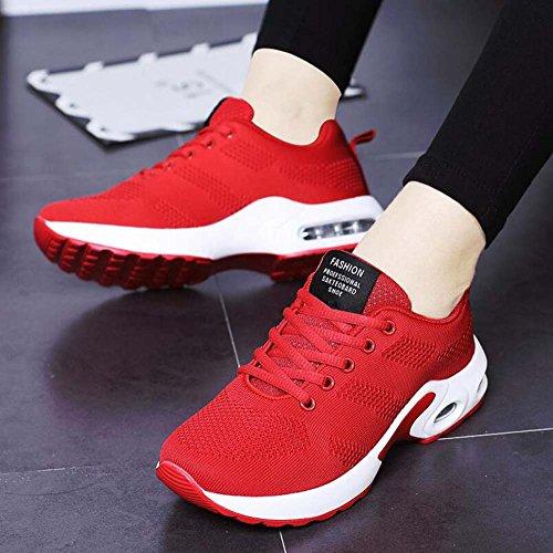 Mesh Deportes Mujer de Shoes Zapatos Rocking Respirable Ocio Rojo Zapatos Plataforma Zapatos Gruesa Nuevo de Verano IpX1BIqw