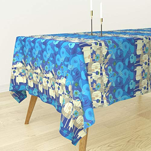 Roostery Tablecloth - Cyan Cobalt Blue Poppy Floral Poppies Mid Century Modern Eames Seventies 70S Mod by Wren Leyland - Cotton Sateen Tablecloth 70 x 144