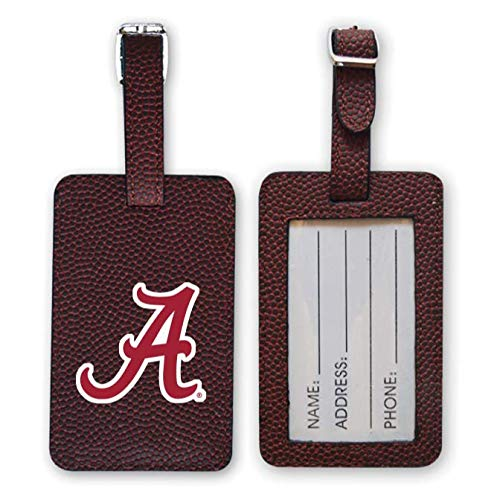 Zumer Sport Alabama Crimson Tide Football Leather Luggage Tag - Made from The Same Exact Materials as a Ball - Unique Design for Standing Out During Travel - ID Card Badge Slot - Brown