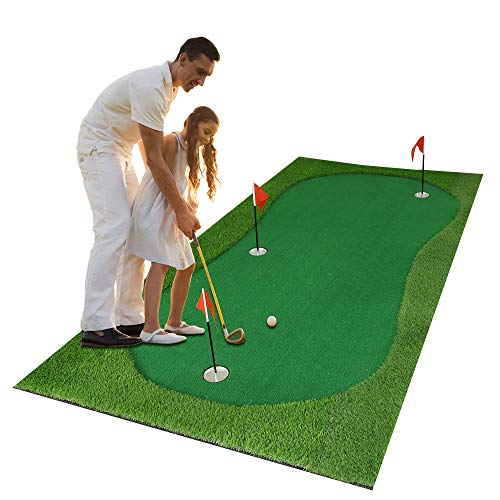 Luricaa Golf Putting Green Mat for Indoor Outdoor, Professional Golf Training Mat Aids for Professional Golf Practice (5x10ft Green-2)
