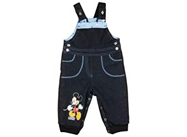 Kleines Kleid Thermojeans Mickey Mouse Baby Jeans Latzhose gefüttert Jungen dick Baumwolle in Grösse 74 80 86 92 98 104 Gesch