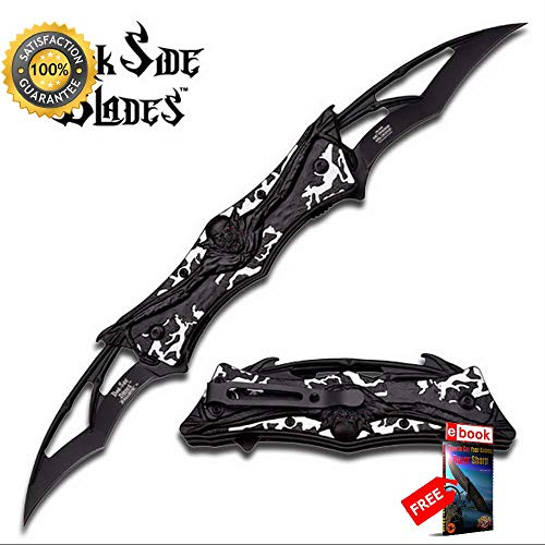 SPRING ASSISTED FOLDING POCKET Sharp KNIFE Dual-Blade Black Silver Demon Wing Tactical Combat Tactical Knife + eBOOK by Moon Knives]()