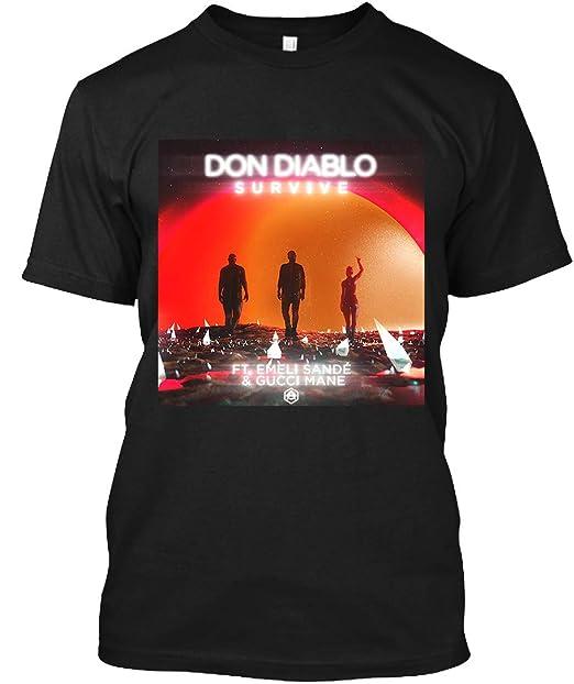 a9d04db0f3a0 Amazon.com  Survive-Don Diablo Feat. Emeli Sande   Gucci Mane T-Shirt for  Men Woman Black  Clothing