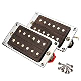 Neck & Bridge Humbucker Pickup Set w/ Chrome Frame for LP Electric Guitar Ceramic