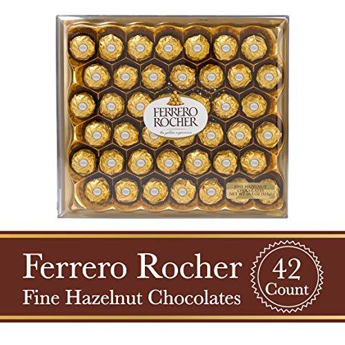 Ferrero Rocher Fine Hazelnut Milk Chocolate, 42 Count, Valentine's Day Chocolate Candy Gift Box