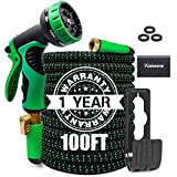 KAREEME 100FT Garden Hose Expandable Water Hose Lightweight with 9 Spray Nozzle, Extra Strength Fabric, No-Kink, Durable Flexible Garden Hose, 3/4' Solid Brass Fittings