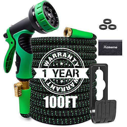 100FT Garden Hose Expandable Water Hose Lightweight with 9 Spray Nozzle, Extra Strength Fabric, No-Kink, Durable Flexible Garden Hose, 3/4″ Solid Brass Fittings