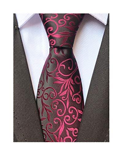 Mens Silk Wine Red Tie Summer Cool Gentleman Party Jacquard Self Cravat Neckties