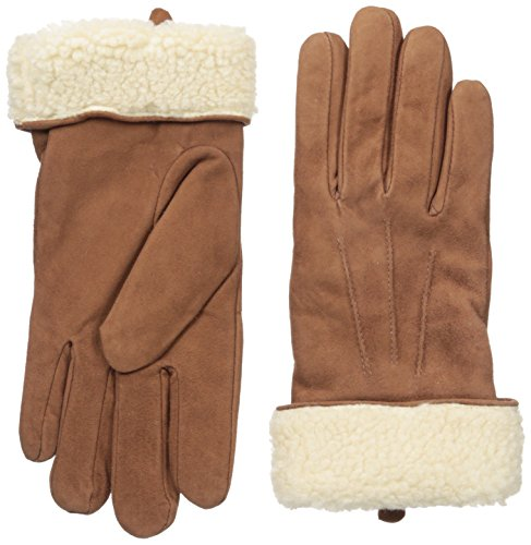 Adrienne Vittadini Women's Soft Suede and Sherpa Lined Gloves, Cognac/Cream, Medium