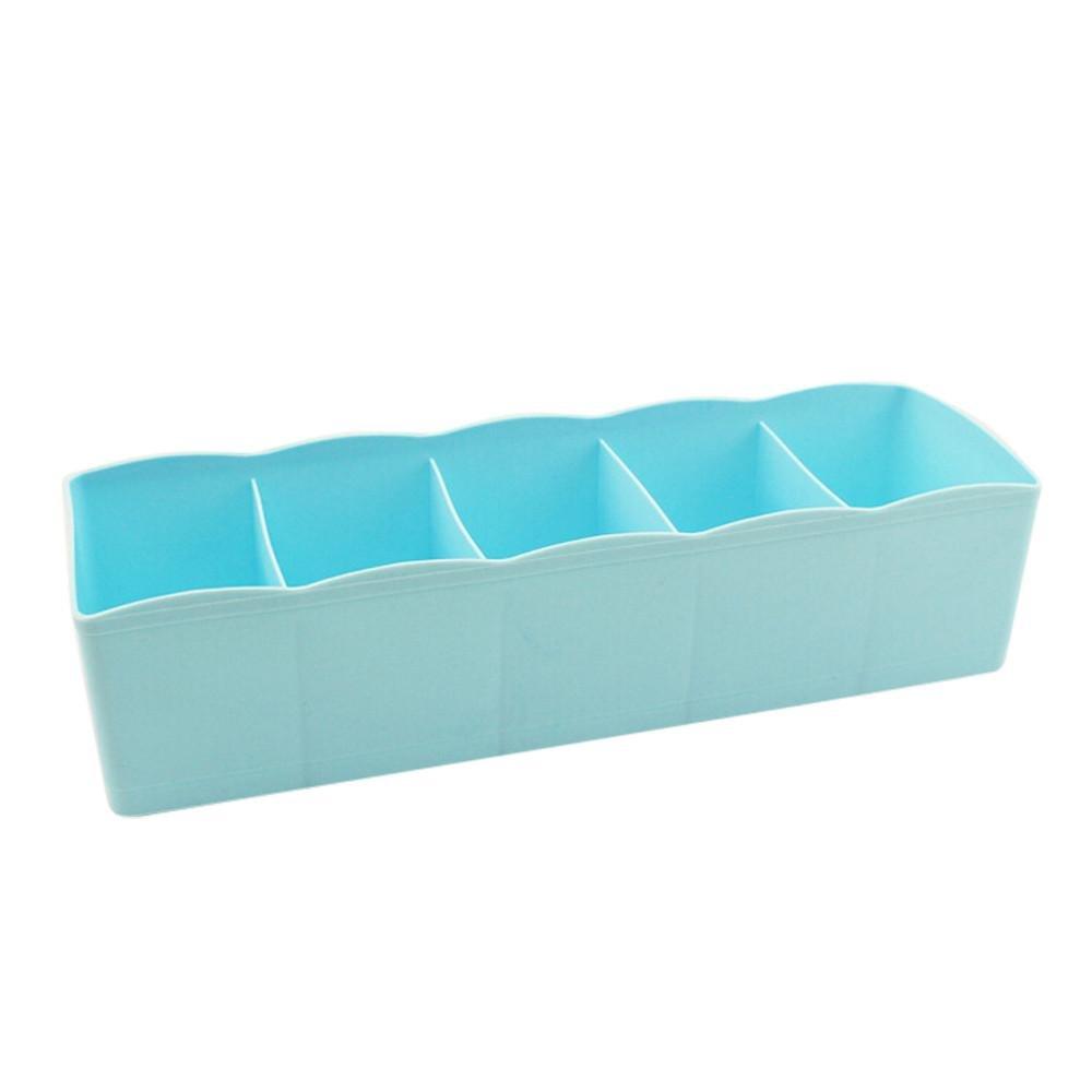 Boomboom Storage Bag, 5 Cells Plastic Organizer Storage Box for Tie Bra Socks Drawer Cosmetic Divider Box (Blue)