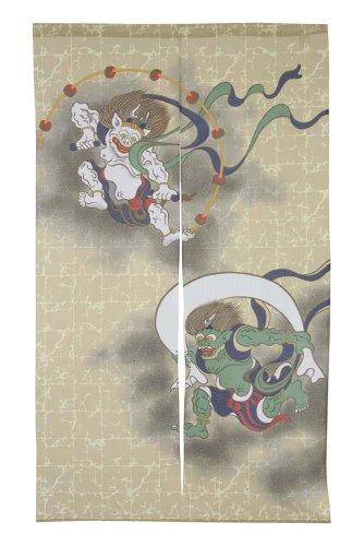 Made in Japan Noren Curtain Ukiyoe Fujin Raijin Wind God and Thunder God