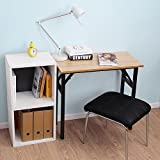 """Need Small Desk 31 1/2"""" Width Folding Desk No Assembly Required. Sturdy and Heavy Duty Desk for Small Space and Laptop Desk Damage Free Deliver(Teak Color Desktop & Black Steel Frame) AC5BB-E1(8040)"""
