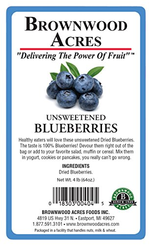 Unsweetened Dried Blueberries by Brownwood Acres - No Added Sugars, Oils or fillers - Just Blueberries! (4 Pound) by Brownwood Acres (Image #1)