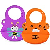 Waterproof Soft Silicone Bib Easy to Clean Feeding Bib Adjustable and Toddler Proof Pocket Bib Comfortable for Babies or Toddlers.set of 2