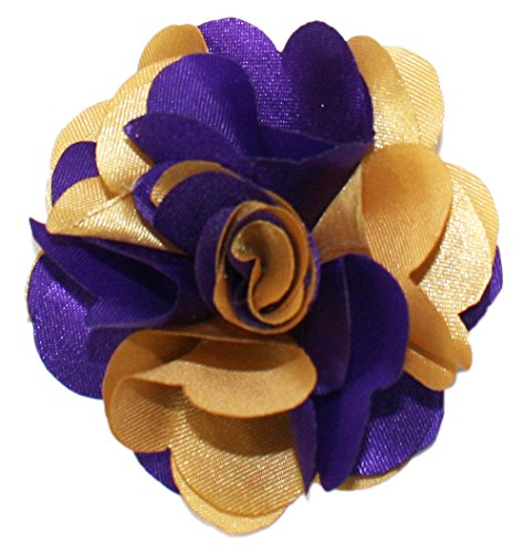 Ted and Jack - Classic Repp Two Tone Silky Flower Lapel Pin Boutonniere in Purple & - Purple Shop Gold And