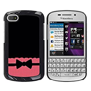 Paccase / SLIM PC / Aliminium Casa Carcasa Funda Case Cover - Tie Bow Bowtie Black Pattern Polka - BlackBerry Q10