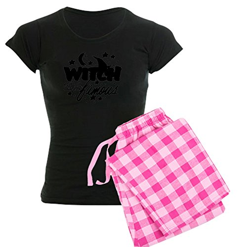[Royal Lion Women's Dark Pajamas Halloween Witch and Famous Hat - Pink Stripe, 2X] (Witch Wig Stripes)