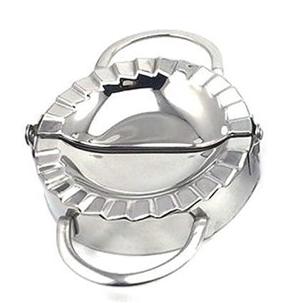 Ruiting Empanadillas Molde,Utensilio para hacer empanadillas y ravioli,Molde de Acero Inoxidable para masa herramienta de cocina (Plateado)