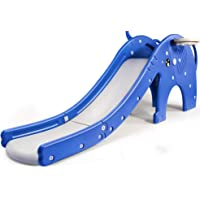 WELINK 3 in 1 Kids Slide Toddler Children Climber Play Slide with 3 Enclosed Steps Plastic Freestanding Slide Playset Toy for Indoor Outdoor Use with Basketball Hoop Ring Toss Game Blue