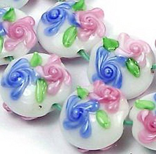 Glamorise Beads #13490 Lampwork Handmade Beads Primrose Flower Lentil V 6 Pcs