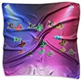 Moth Colorful Butterfly Women's Fashion Print Square Scarf Neckerchief Headdress M