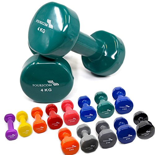 2er Set FOURSCOM® 2x 4kg Vinyl Hanteln Kurzhanteln Gymnastikhanteln, 13 verschiedene Gewichte und Farben zur Auswahl