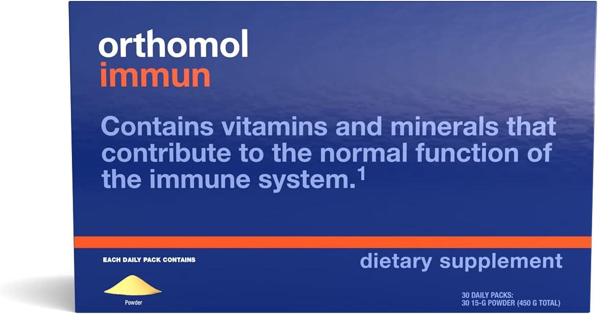 Orthomol Immun Powder, Immune Support Supplement, 30-Day Supply, Vitamins A, B, C, D, E, Zinc, Iodine