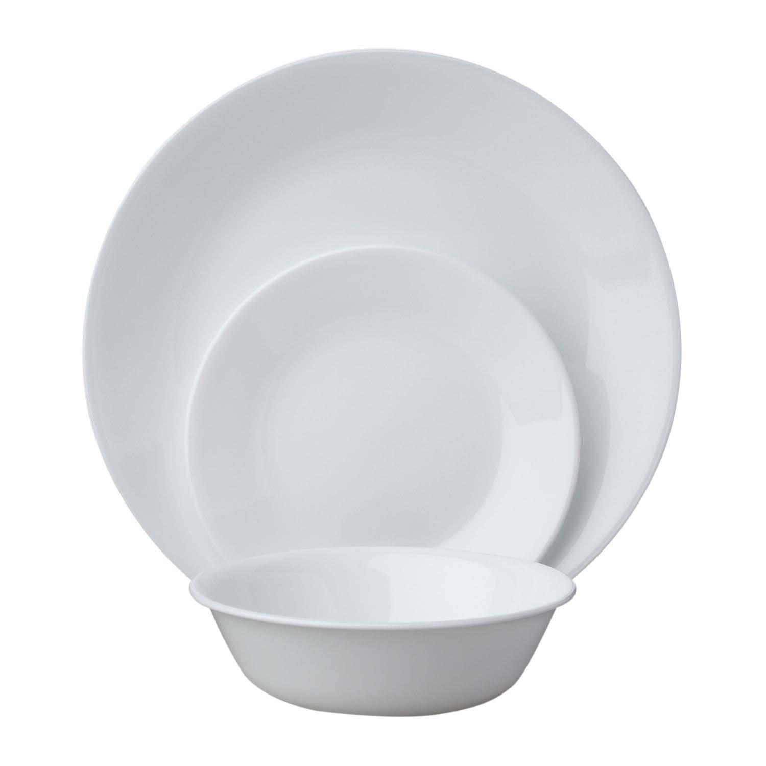 Corelle Livingware 18-Piece Dinnerware Set, Winter Frost White, Service for 6 (1088609)
