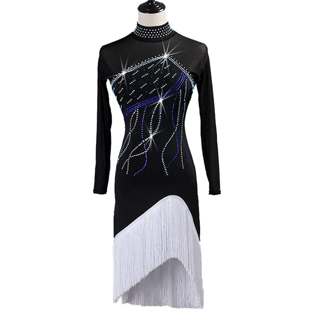 分割フリンジラテンダンスドレス女性用成人用ラインストーンハイカラールンバ競技スーツ B07R2LJ8GJ ブラック Xl xl