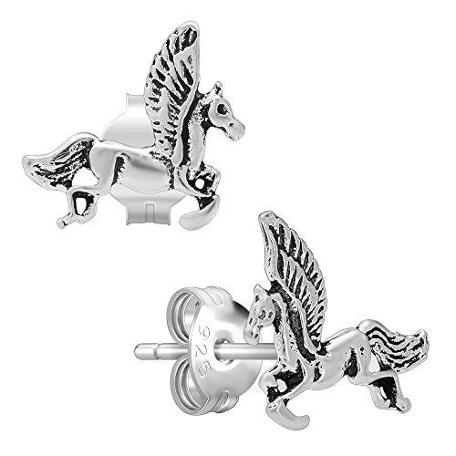(Nickel Free) 925 Sterling Silver Pegasus Stud Earrings -