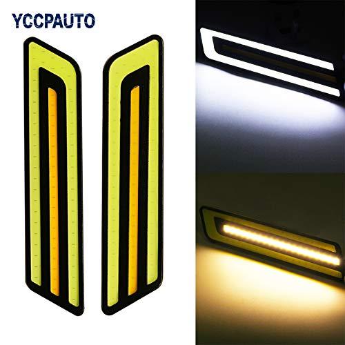 Car Lights Elt 2Pcs Led Lights Cob Daytime Running Lights White/Yellow Dual Color Waterproof Auto Drl Turn Light Led Light Source ()