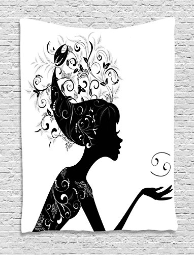 Lunarable Zodiac Cancer Tapestry, Silhouette of a Girl with Cancer Symbol and Spring Foliage Leaves Hair, Wall Hanging for Bedroom Living Room Dorm, 40 W X 60 L Inches, Black and White ()
