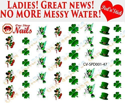 St. Patricks Day Disney V1 clear vinyl Peel and Stick (NOT Waterslide) nail art decals/stickers. Set of 47 by One Stop Nails.
