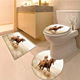Miki Da 3 Piece Shower Mat set purebred white arabian horse in desert Pattern Rug Set